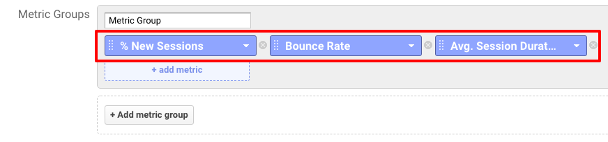 fig16-+ Add metric, % New Sessions, Bounce Rate, Avg Session Duration