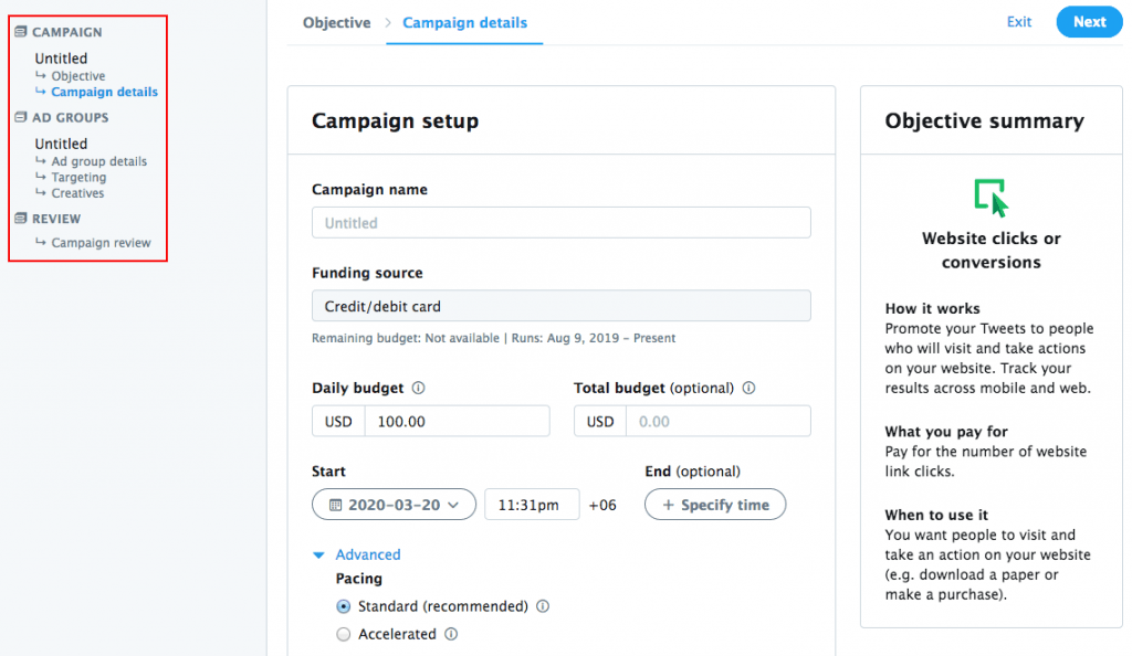 fig6-Get started with Twitter~Campaign setup